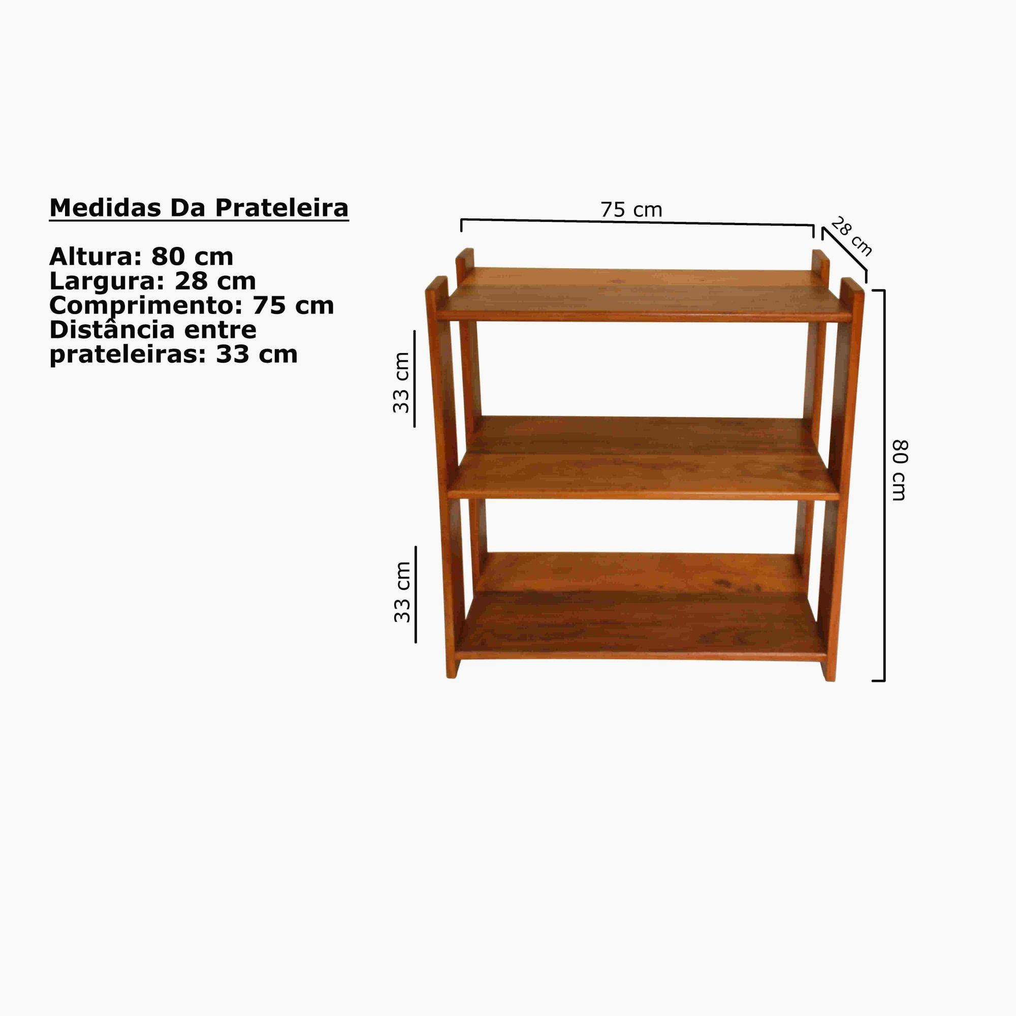 Estante 3 Prateleira para Livros Em Madeira de Demolição medindo 75x30x80