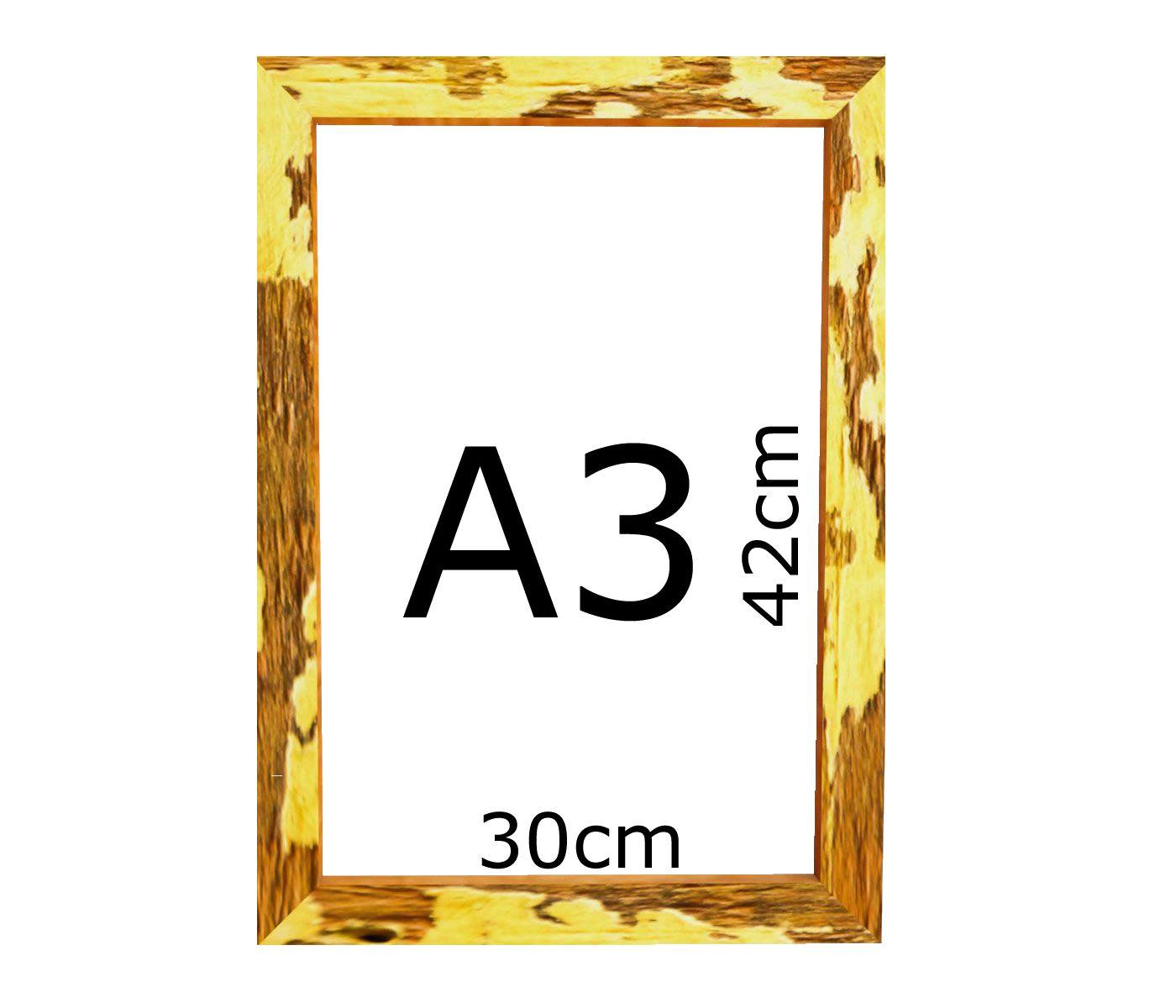 Kit 2 Moldura Rústica Quadro/certificado A3 (30x42cm) C/ Vidro