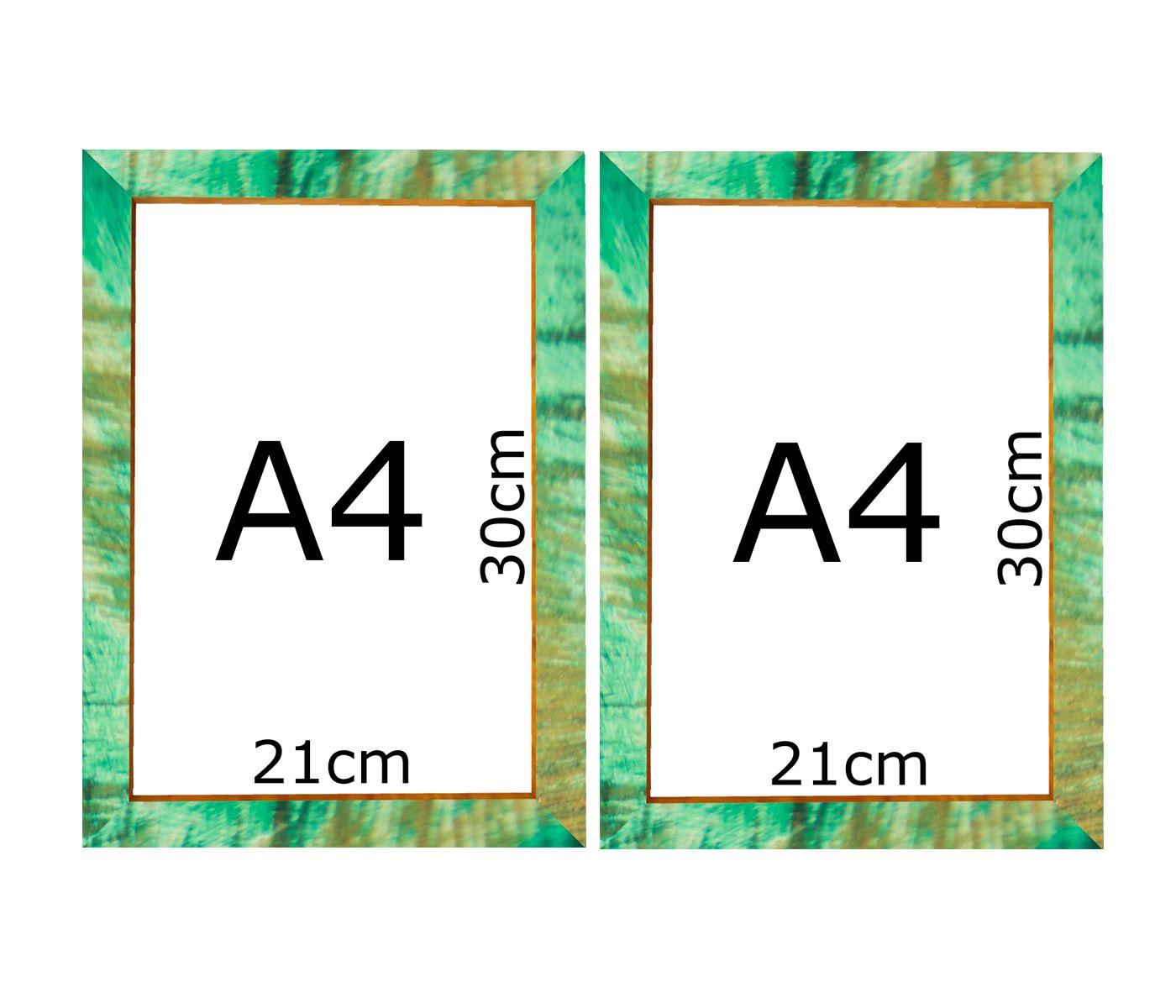 Kit 2 Moldura Verde Patinada A4 Certificado 21x30 Com Vidro