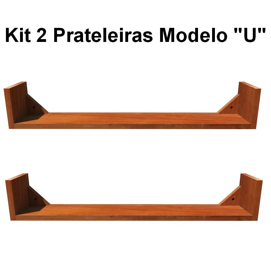 """Kit 2 Prateleira """"U"""" Em Madeira De Demolição  Medidas: 0,70m(C) x 0,15m(L) x 0,15m(A)"""