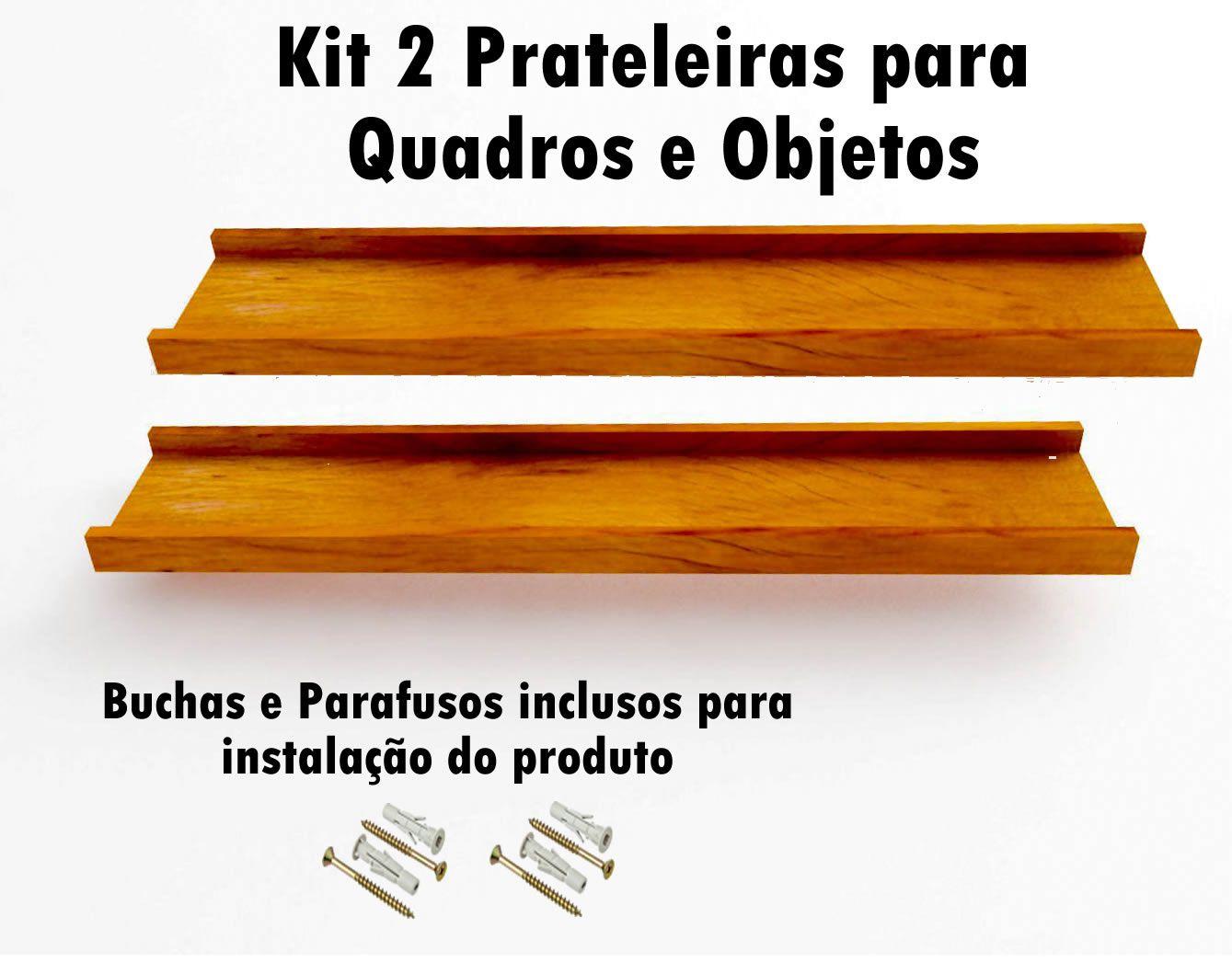 Kit 2 Prateleira em Madeira De Demolição para Quadros medindo 60x15x4