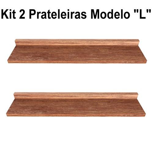 Kit 2 Prateleira Modelo L Madeira De Demolição Livros Fácil Instalação 60x15x5