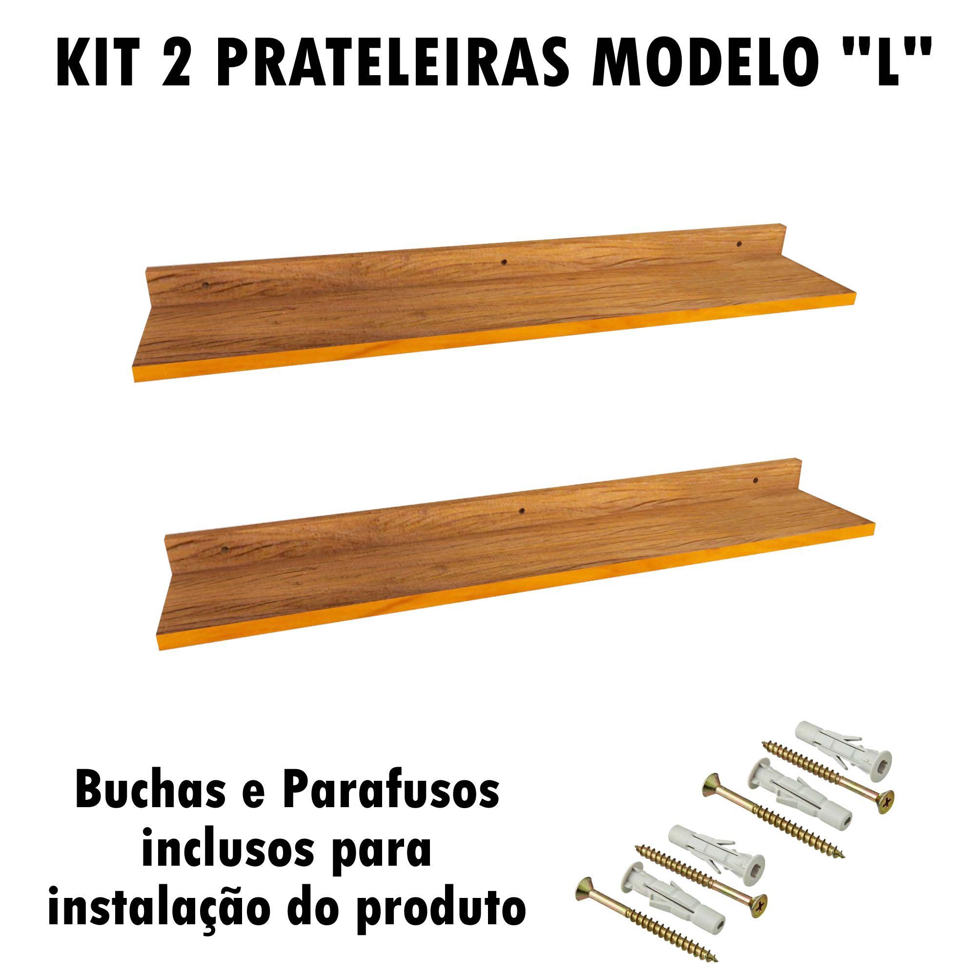 Kit 2 Prateleira Modelo L Madeira De Demolição Livros Fácil Instalação 90x15x5