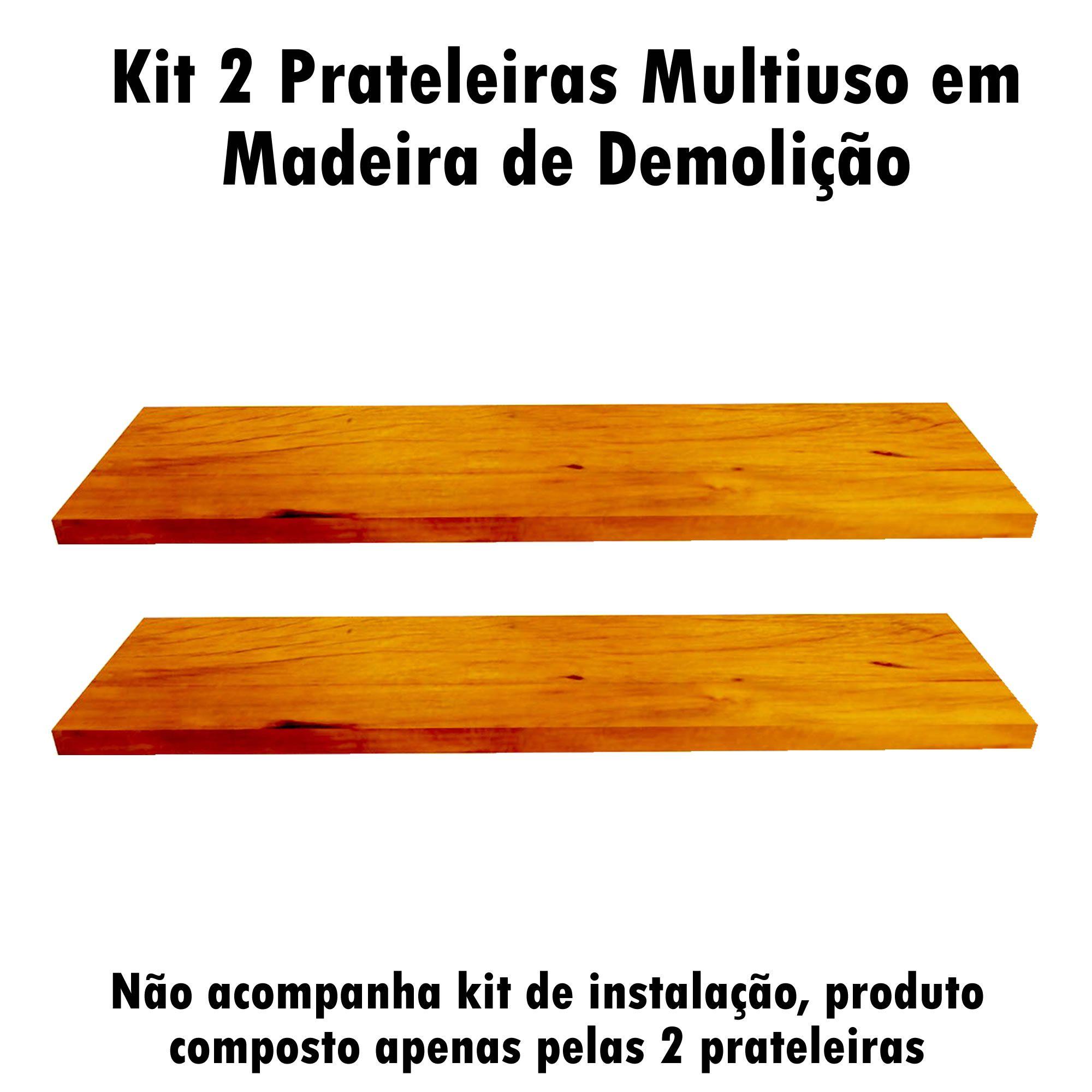 Kit 2 Prateleira Multiuso em Madeira De Demolição medindo 60x19x2