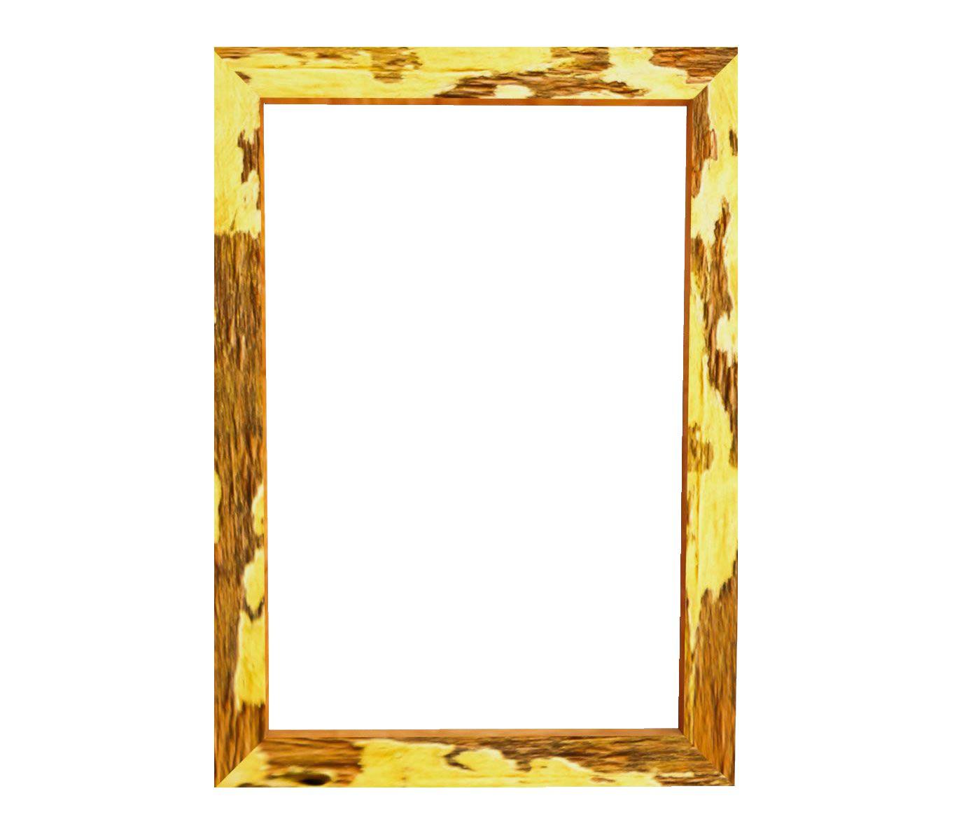 Kit 2 Quadros Moldura Rústica certificado A4 (21x30cm) C/ Vidro Amarelo
