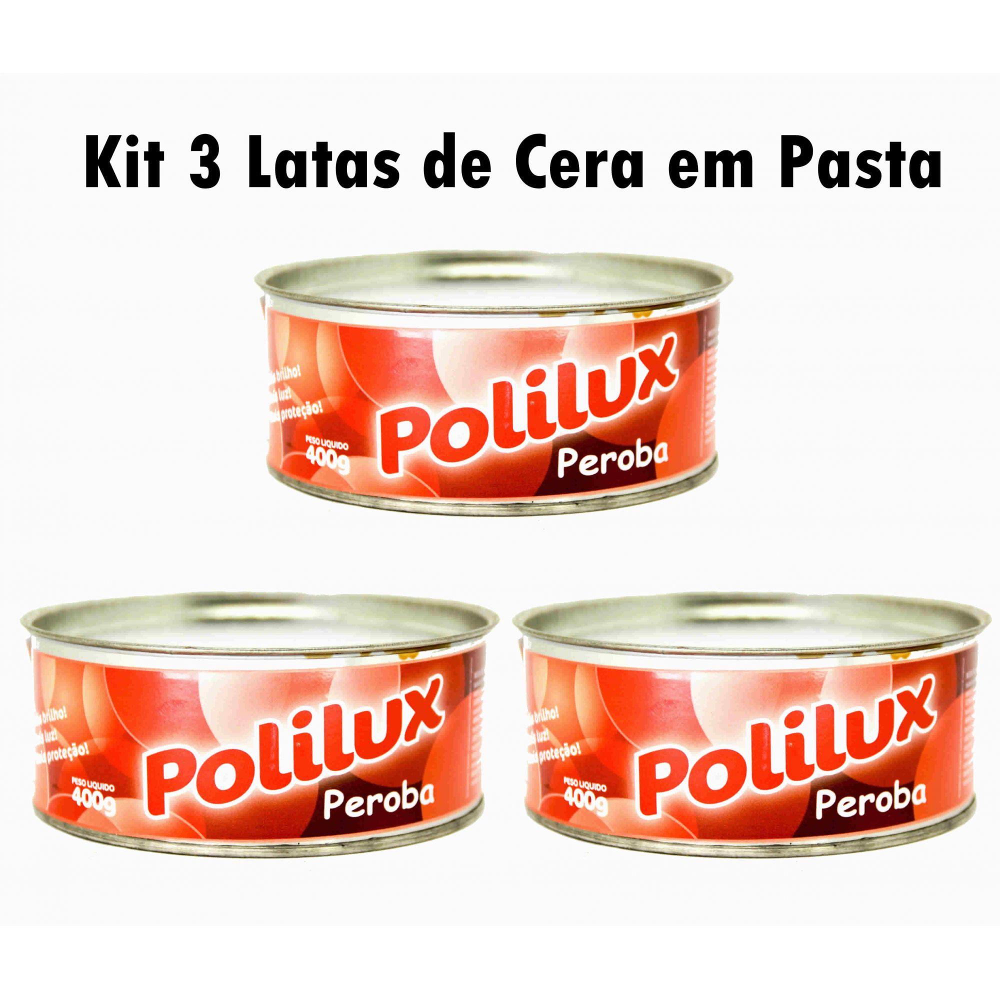 Kit 3 Latas De Cera Carnaúba Em Pasta Para Madeira E Pisos Anúncio com variação