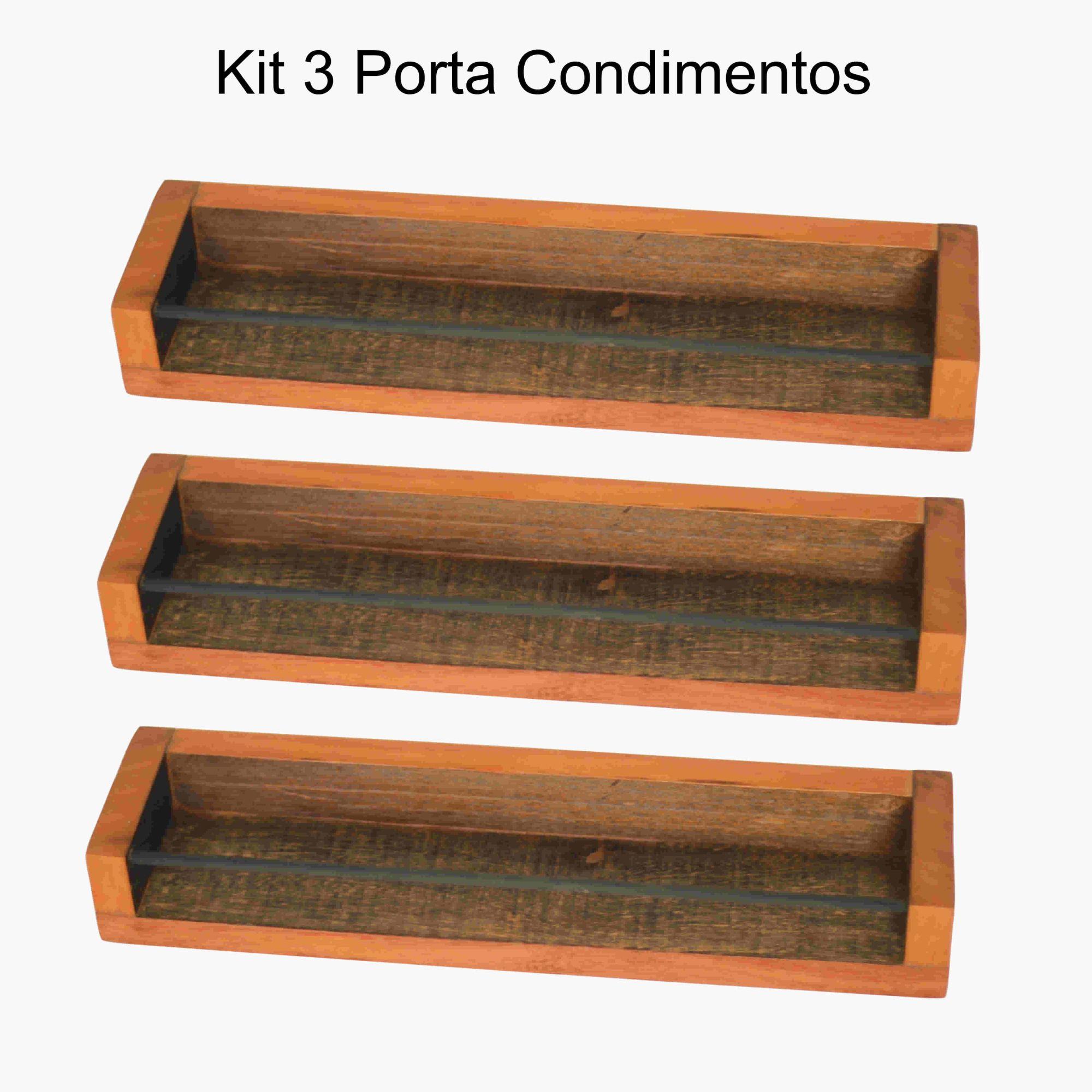 Kit 3 Porta Condimentos em Madeira De Demolição 38x10x4