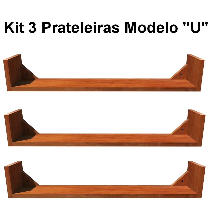 Kit 3 Prateleira em Madeira De Demolição Modelo U medindo 70x15x15