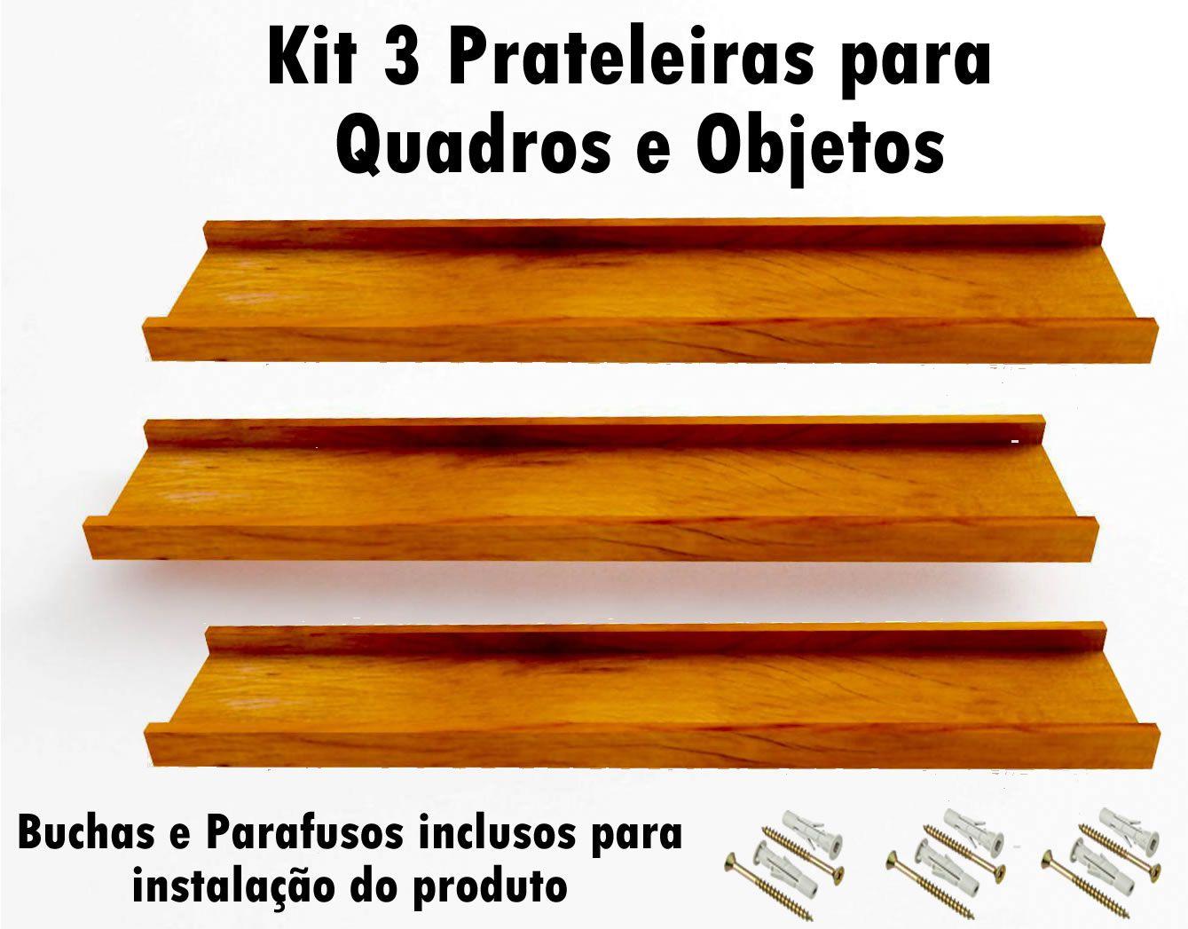 Kit 3 Prateleira em Madeira De Demolição para Quadros medindo 60x15x4