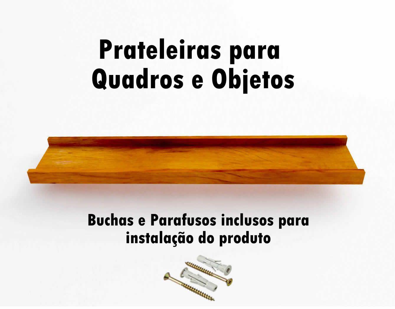 Kit 3 Prateleira em Madeira De Demolição para Quadros medindo 90x15x4