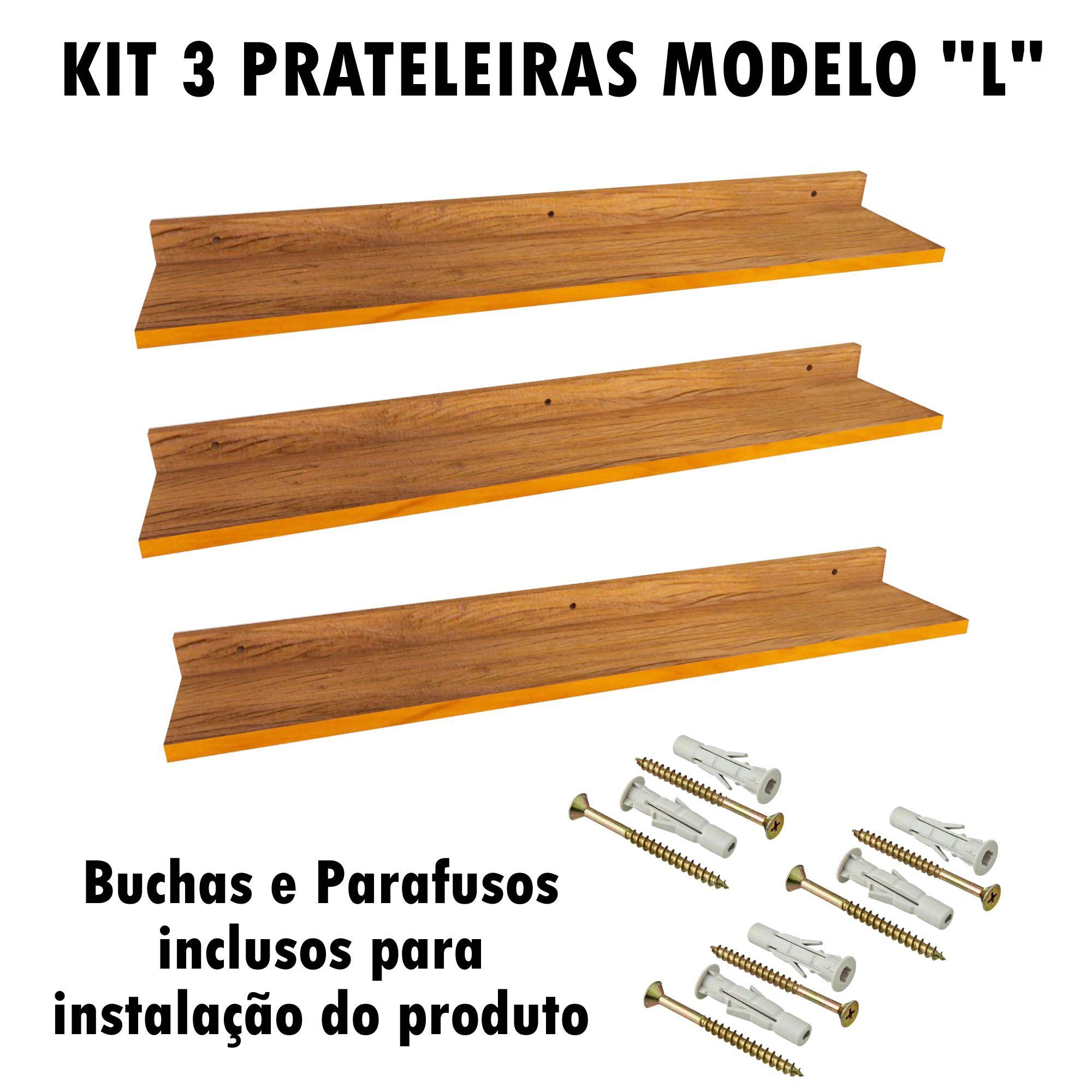 Kit 3 Prateleira Modelo L Madeira De Demolição Livros Fácil Instalação 90x15x5