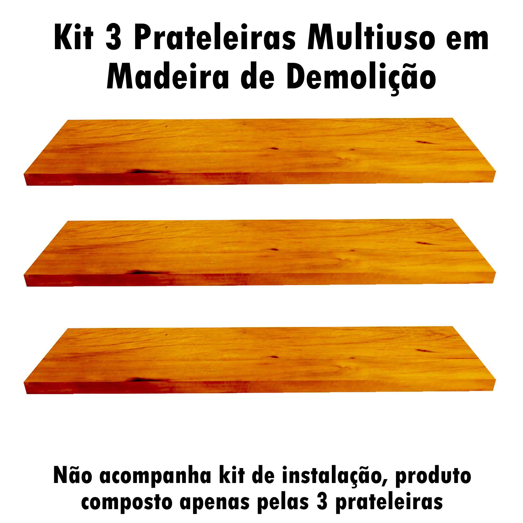 Kit 3 Prateleira Multiuso em Madeira De Demolição medindo 60x19x2