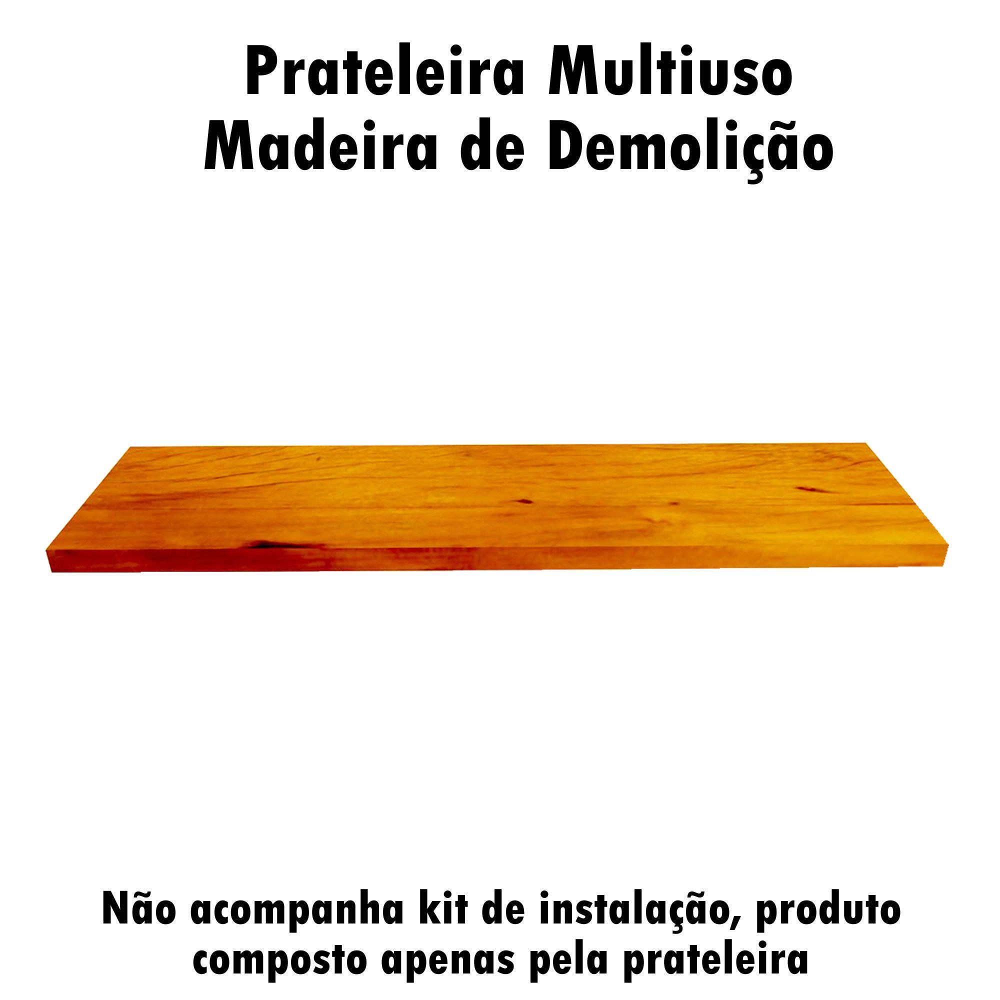 Kit 3 Prateleira Multiuso em Madeira De Demolição medindo 90x19x2