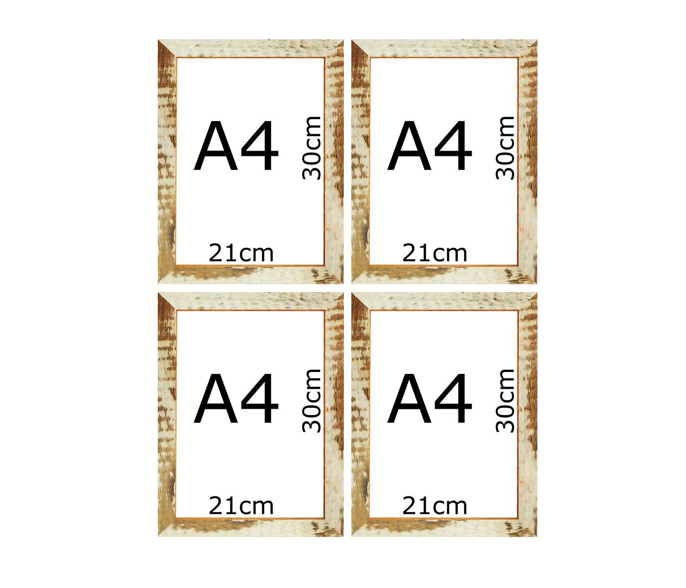 Kit 4 Armação De Quadro Patina Branca Fotos Certificados A4 30x21cm