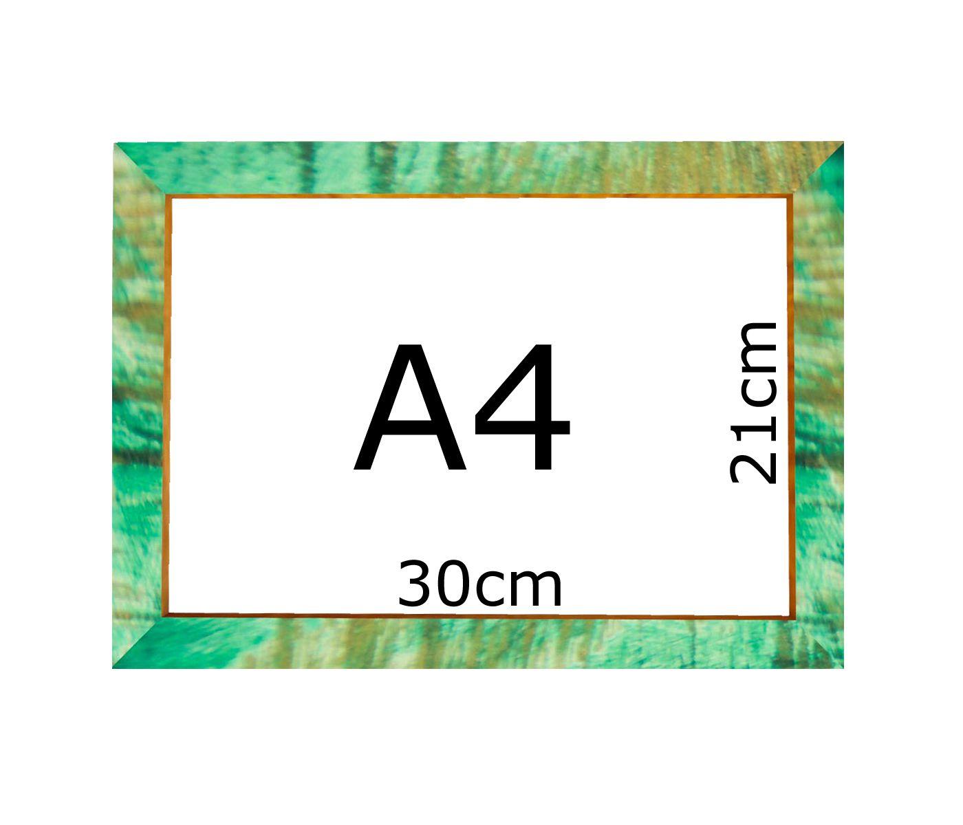 Kit 4 Moldura Verde Patinada A4 Certificado 21x30 Com Vidro