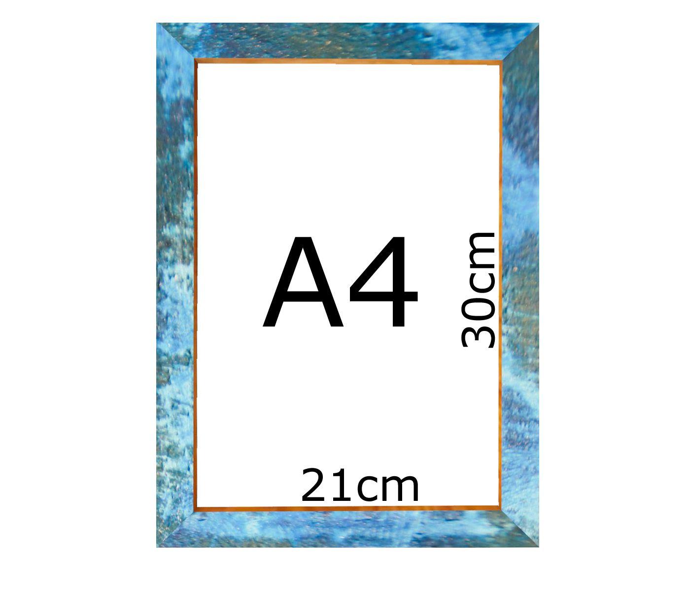 Kit 4 Quadros Moldura Rústica certificado A4 (21x30cm) C/ Vidro Azul
