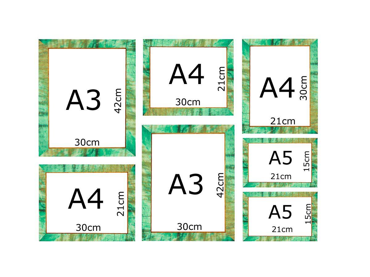 Kit 7 Quadros Medida Padrão A3 A4 A5 Vidro Moldura Patinada Verde