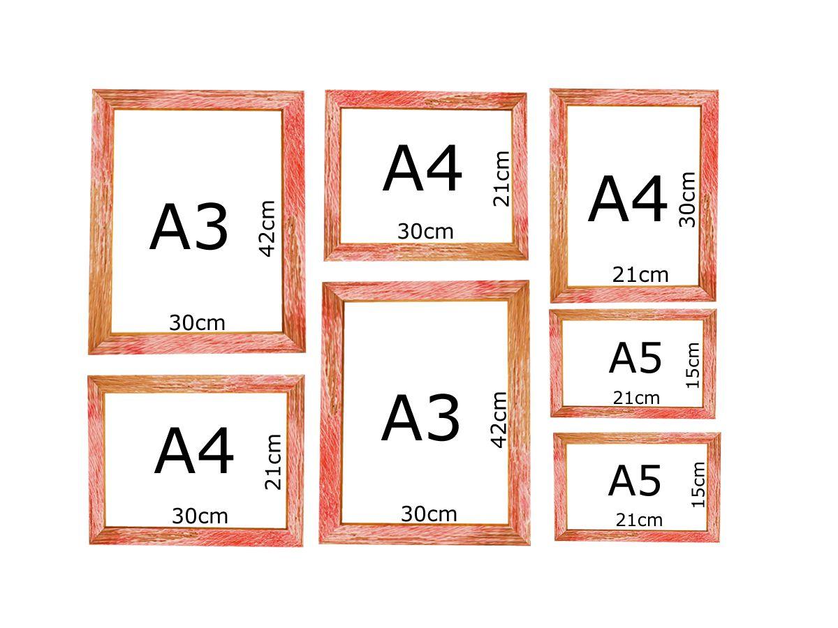 Kit 7 Quadros Medida Padrão A3 A4 A5 Vidro Moldura Patinada Vermelha