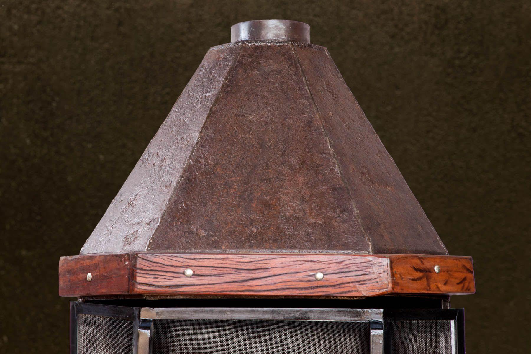 Lareira média de canto medindo 1,40m x 0,84 em chapa naval rústica