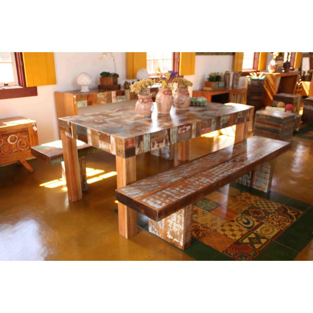 Mesa De Jantar Linha Retalho Em Madeira Rústica De Demolição Medindo 2,00x1,00x78