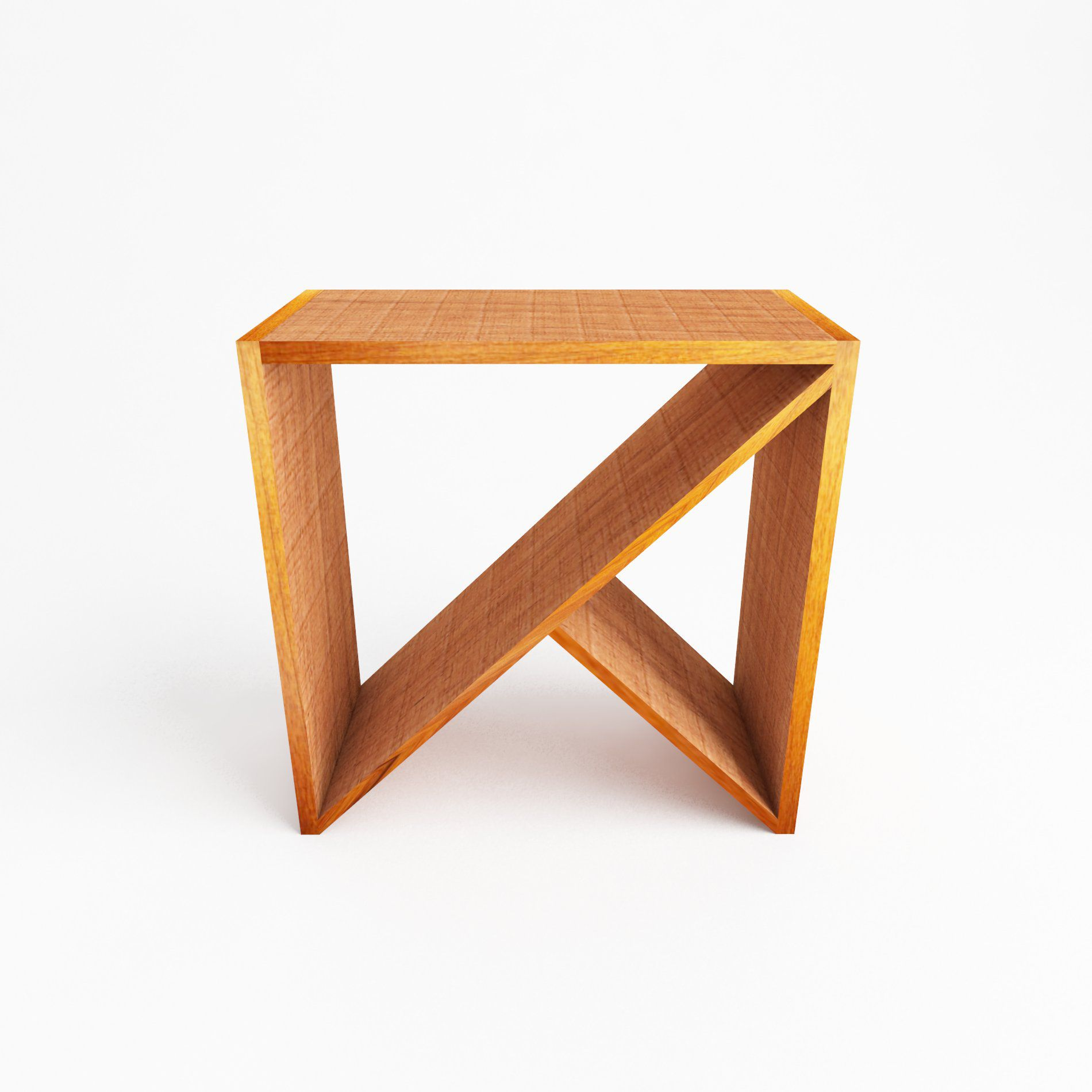 Mesa lateral Modelo X medindo 0,45 x 0,45 Em Madeira De Demolição