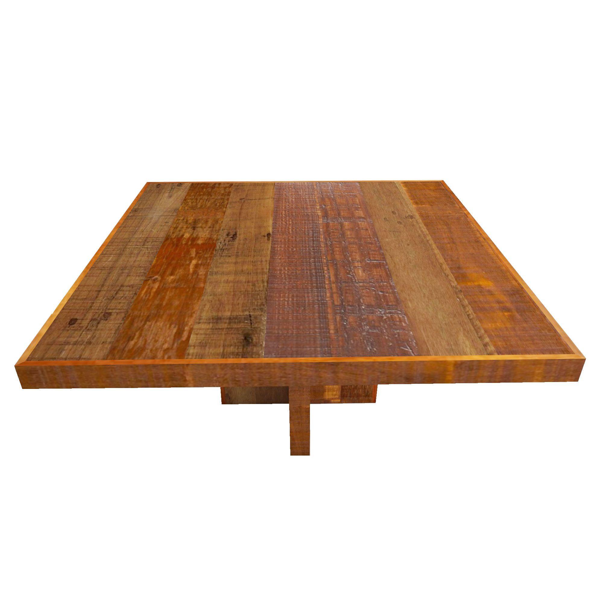 Mesa quadrada em madeira Mista de demolição pés cruzetas Medindo 1,30x1,30x78