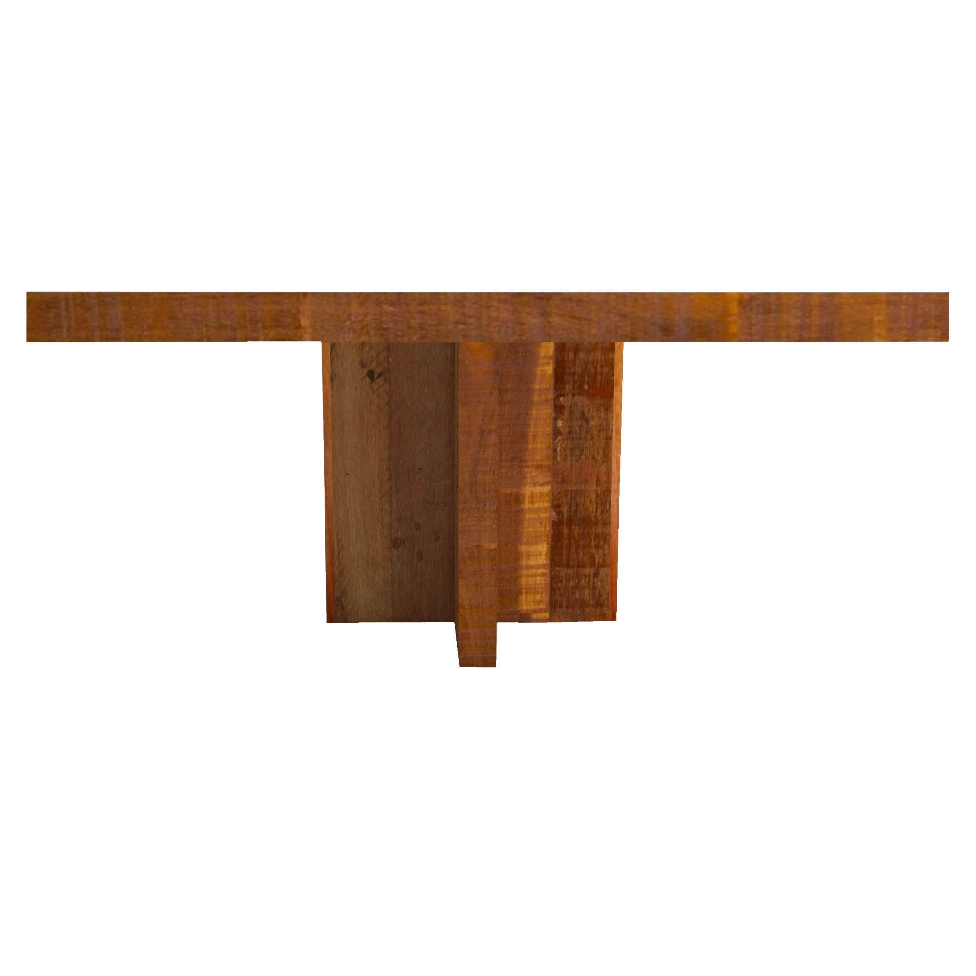 Mesa quadrada em madeira Mista de demolição pés cruzetas Medindo 1,40x1,40x78