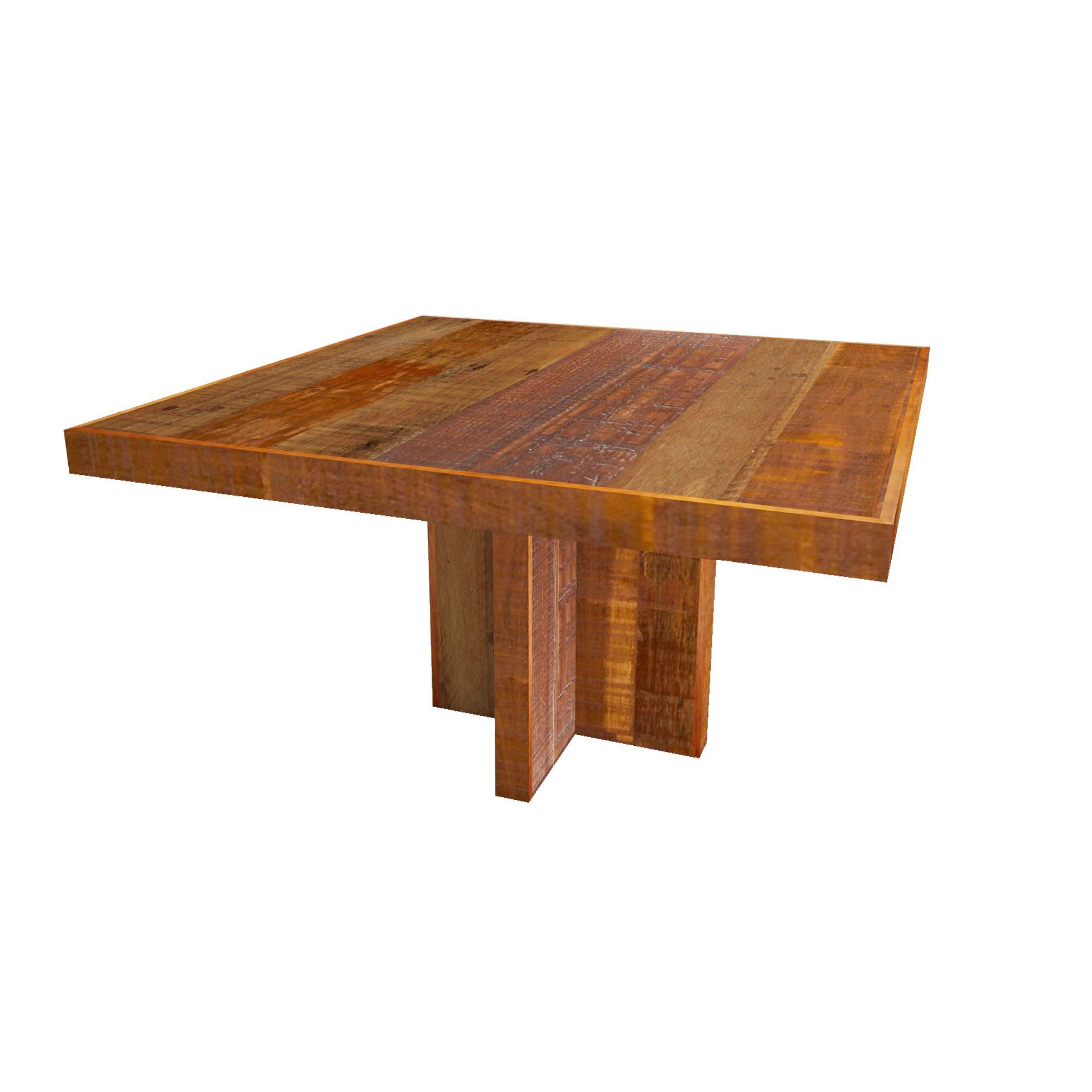 Mesa quadrada em madeira Mista de demolição pés cruzetas Medindo 1,60x1,60x78