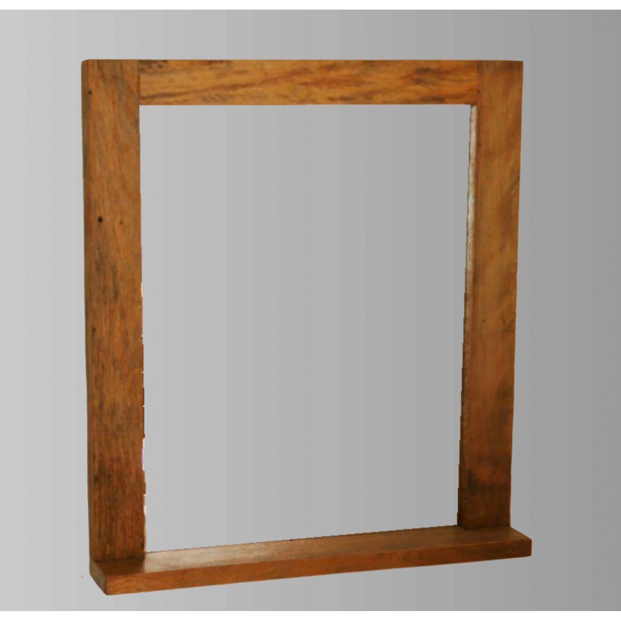 Moldura com prateleira Para Espelho Rústica Em Madeira De Demolição 1,00x80 Sem Espelho