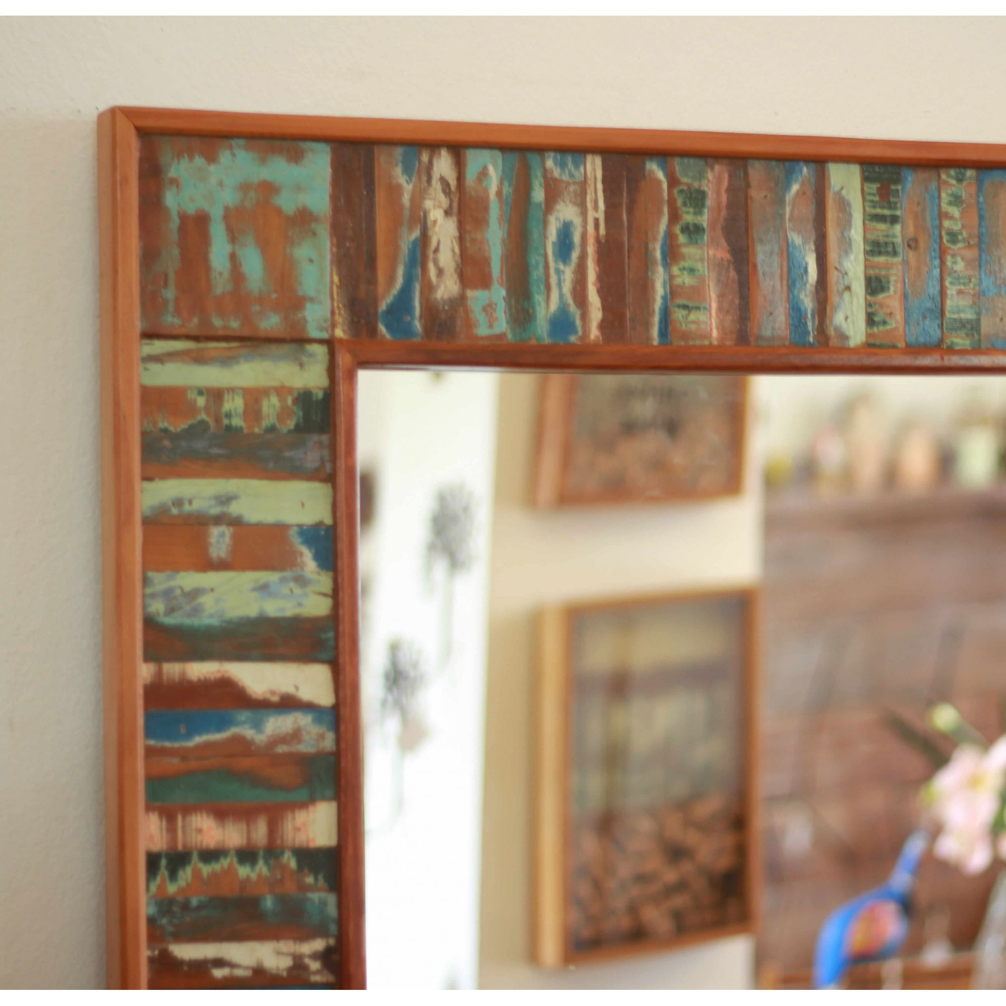 Moldura Para Espelho Ripinhas Em Madeira De Demolição 1,80 x 0,80 - Sem Espelho