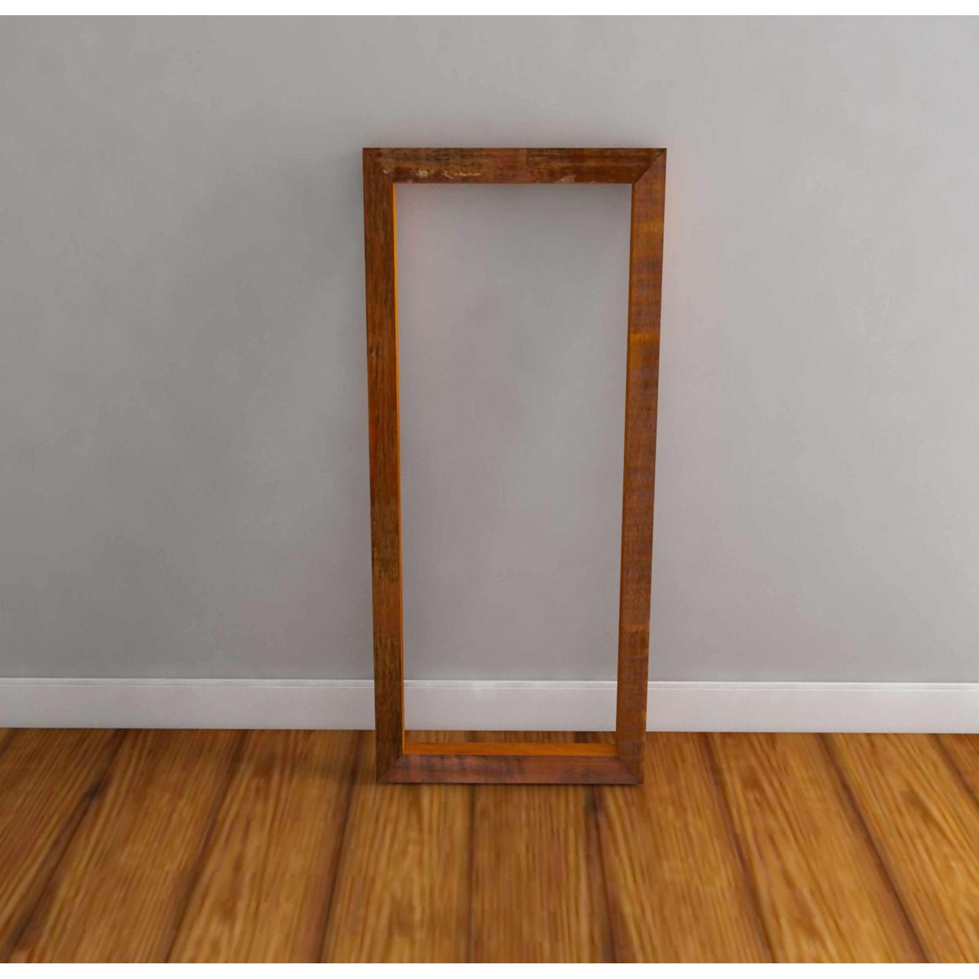 Moldura Para Espelho Rústica Em Madeira De Demolição 2,00x90 Sem Espelho