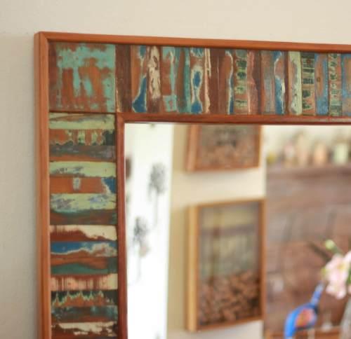 Moldura Ripinhas Para Espelho Fabricada Em Madeira Demolição 1,00x80