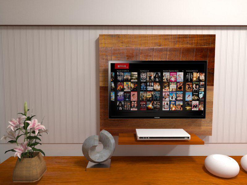 Painel 90x80 para Tv + Prateleira 50x20 Em Madeira maciça De Demolição
