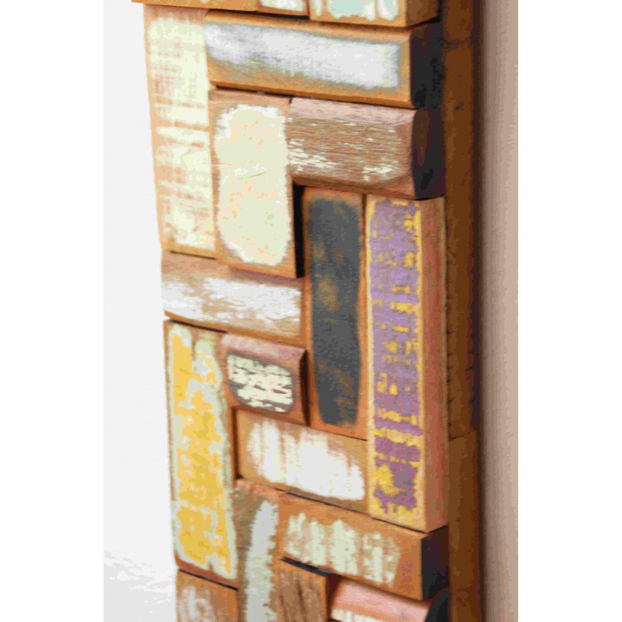 Painel Decorativo Colorido medindo 14 X 45 em Madeira De Demolição