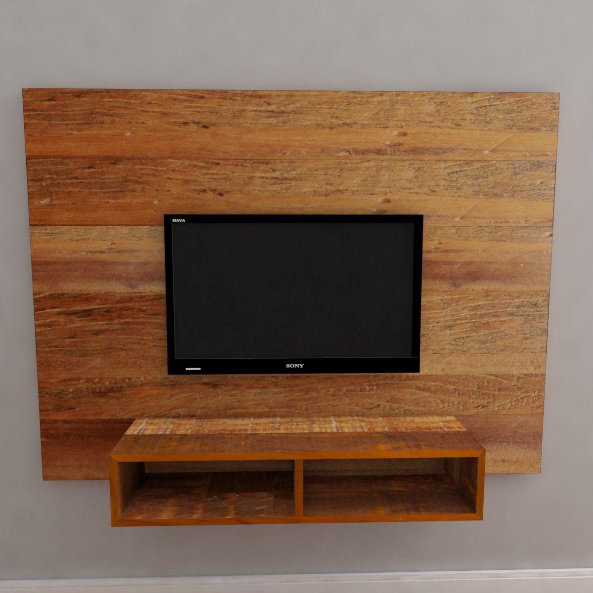 Painel para sala de TV Com Nicho medindo 160x120cm Em Madeira De Demolição