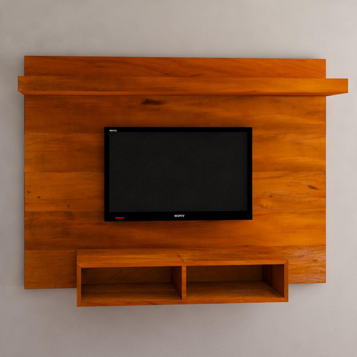 Painel Para TV Com Nicho E Prateleira Em Madeira De Demolição Medindo 1,60 x 1,20