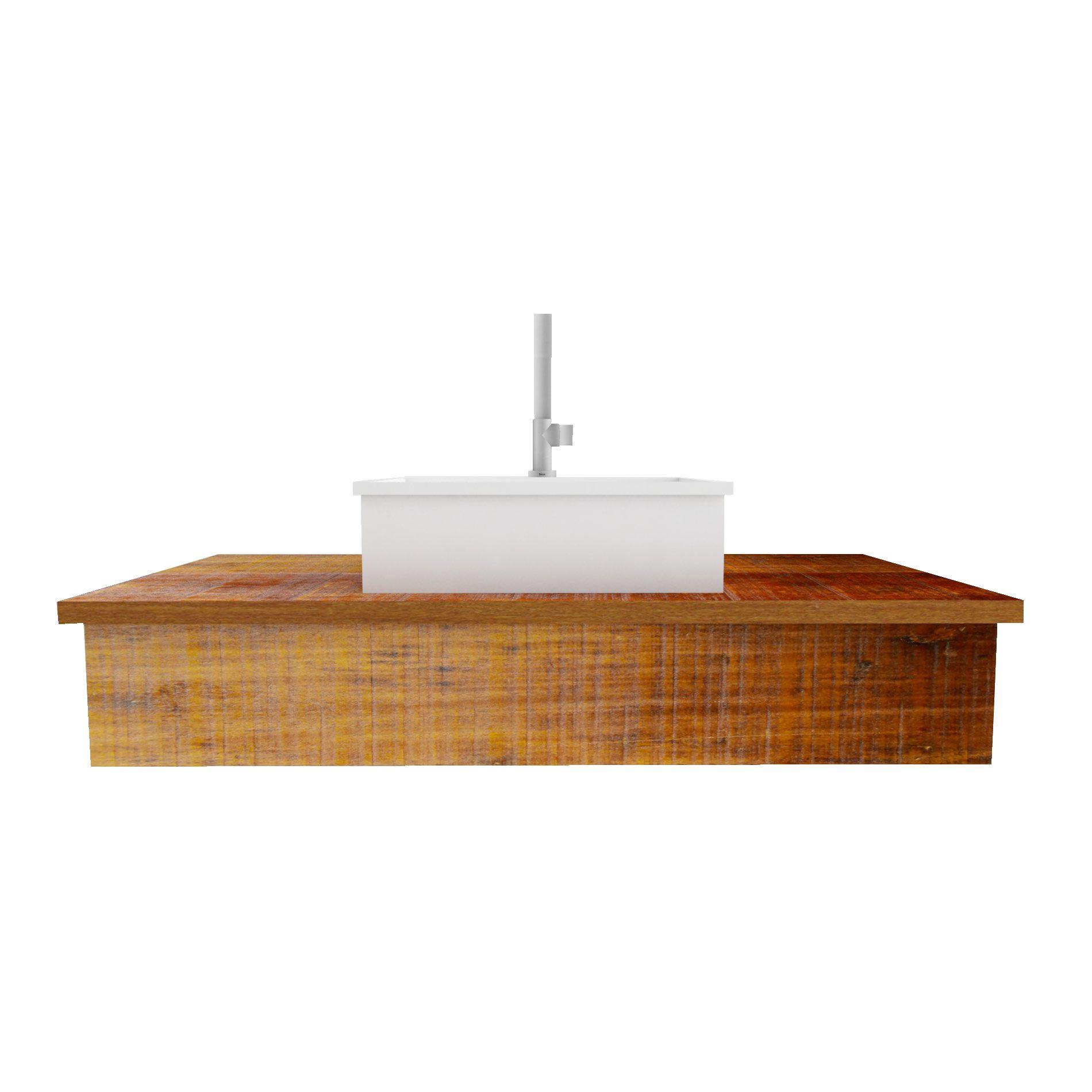 Pia Bancada Para Banheiro Medindo 60x40 Madeira de demolição