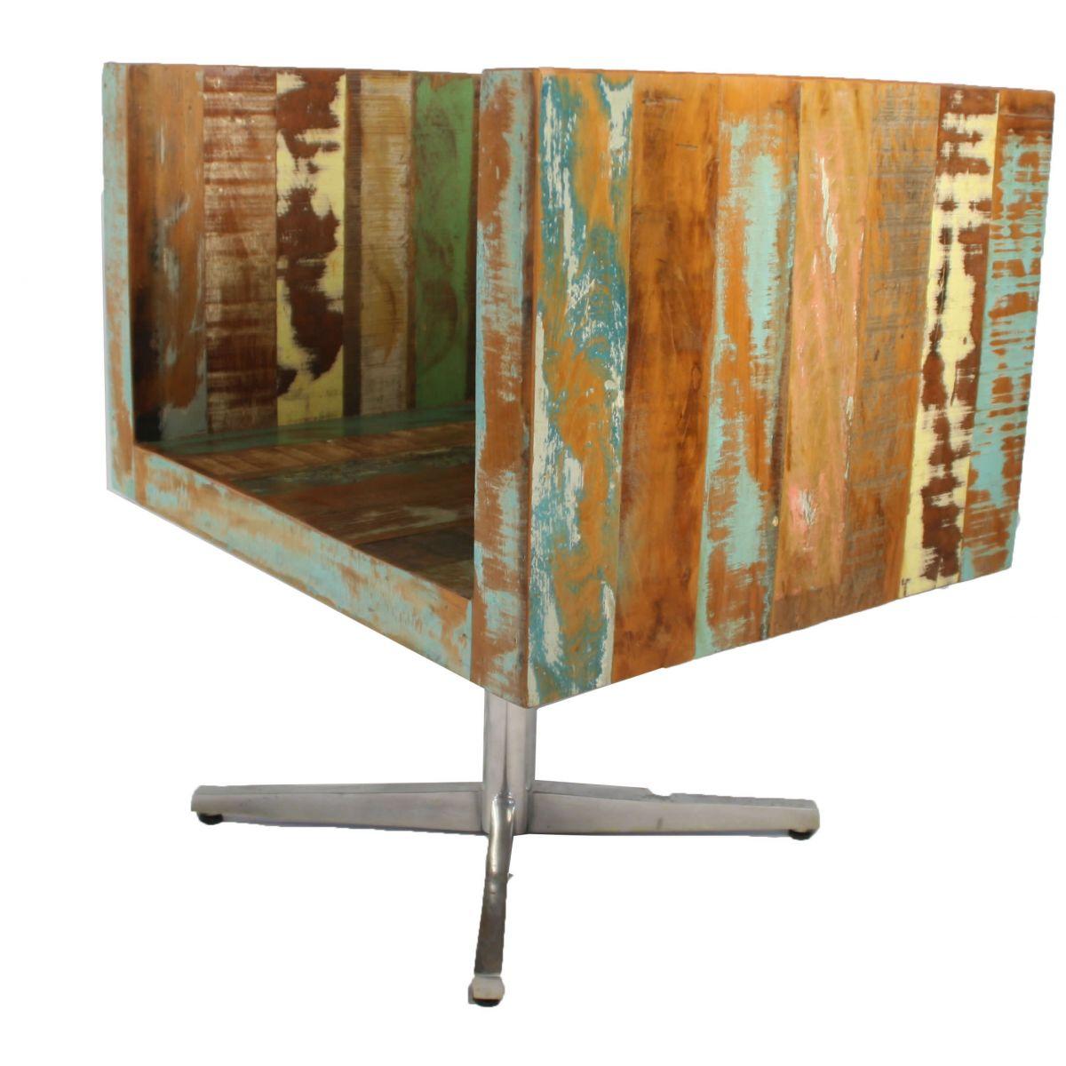 Poltrona Giratória Colorida Medindo 0,67 x 0,56 Em Madeira Maciça De Demolição