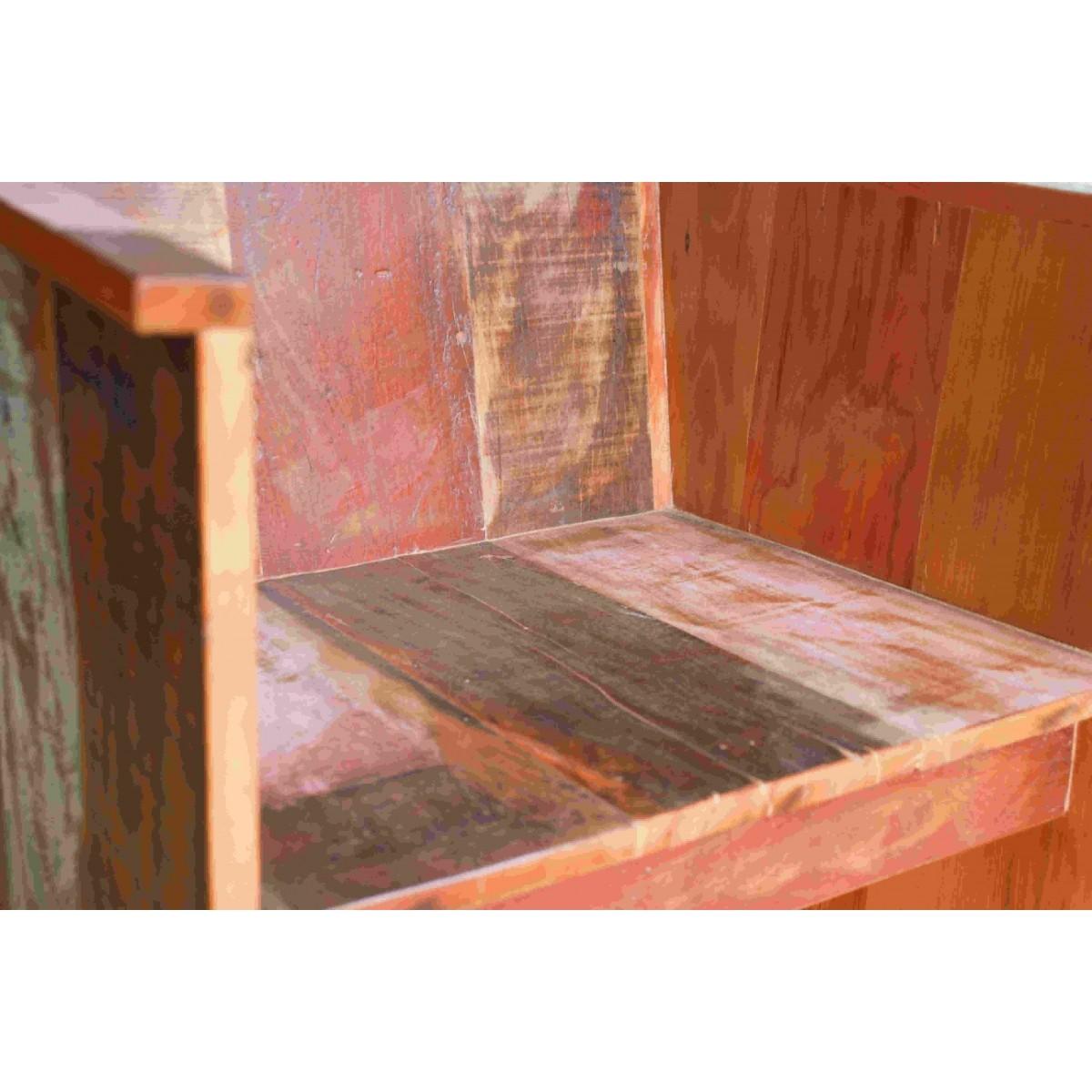 Poltrona Reta Em Madeira Maciça De Demolição Medindo 60x55x80