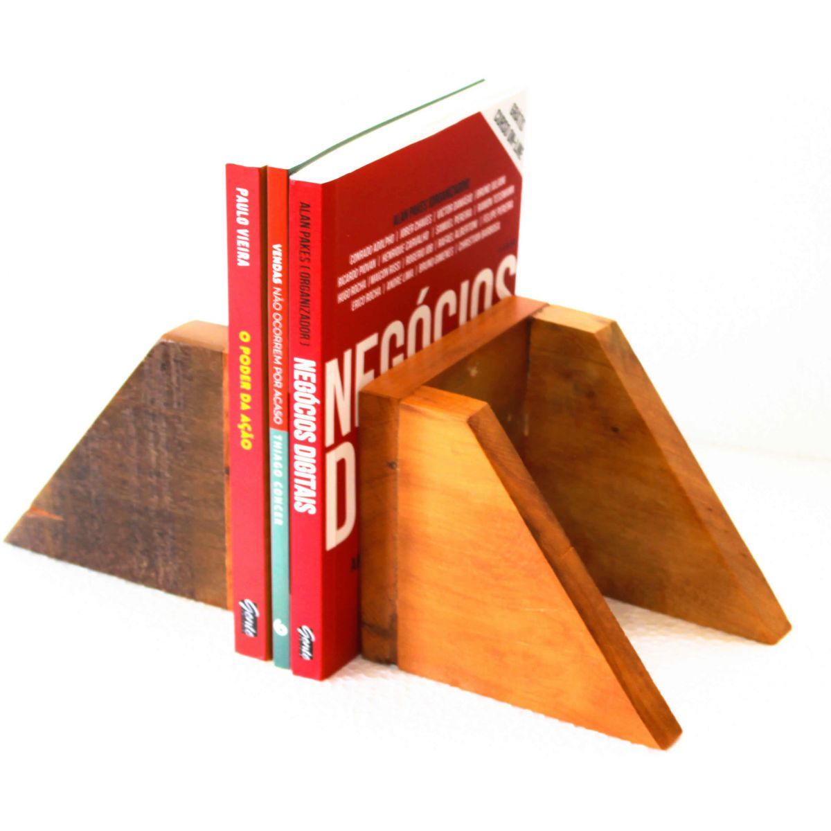 Suporte Para Livros Em Madeira De Demolição Peça Decorativa Medindo 0,15 x 0,15