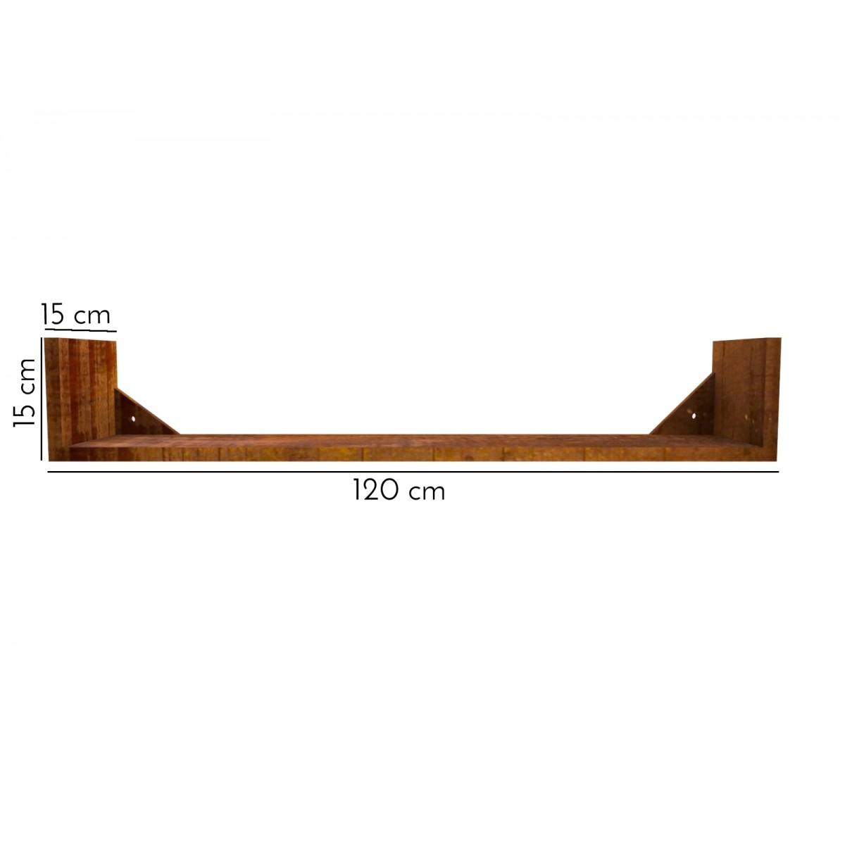 Prateleira Modelo U 120x15x15 Madeira De Demolição