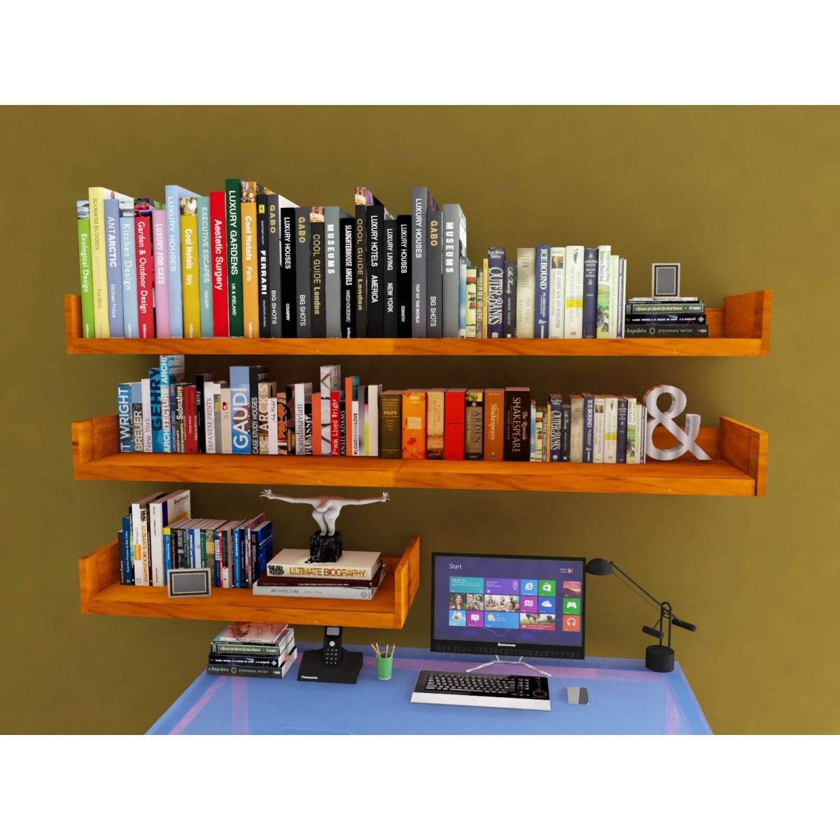 Prateleira L  120 x 15 x 5 em Madeira de Demolição para Livros decorações Fácil Instalação