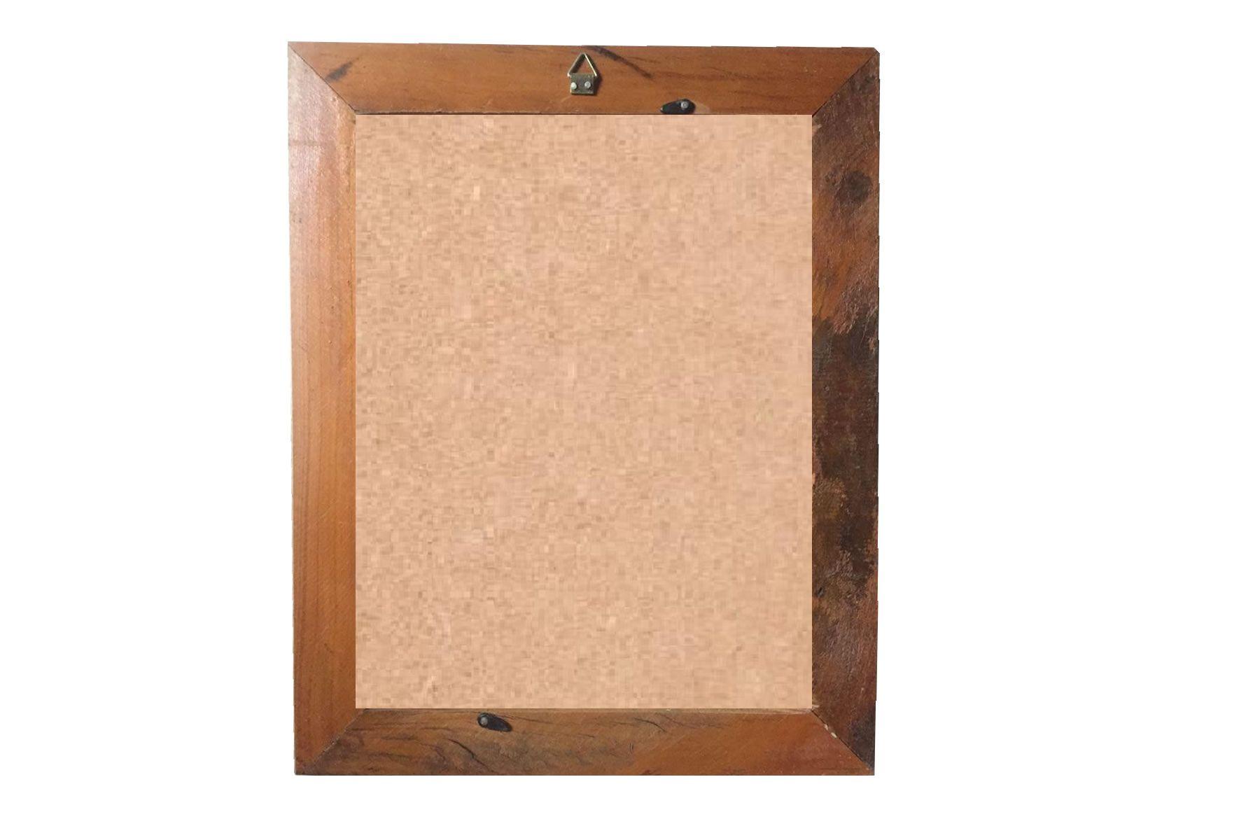 Quadro Moldura Rústica certificado A4 (21x30cm) C/ Vidro Amarelo
