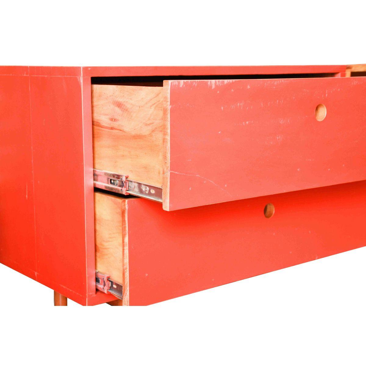 Rack Vermelho Em Madeira Maciça De Demolição Medindo 1,40x40x60
