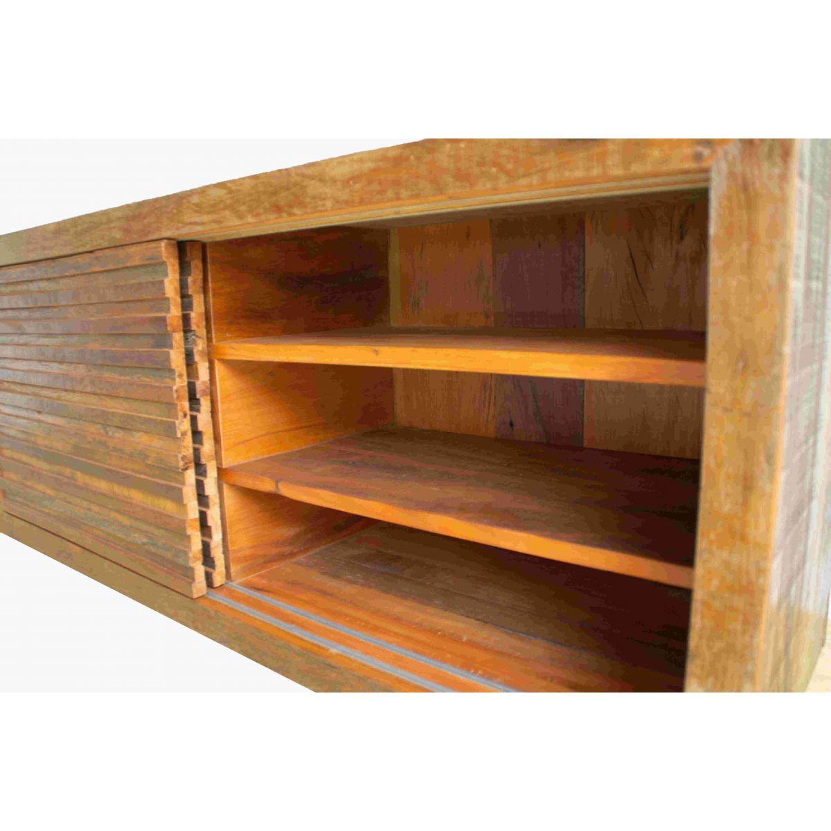 Rack Rústico 2 Portas Em Madeira De Demolição Peroba Rosa Medindo 1,40x40x60