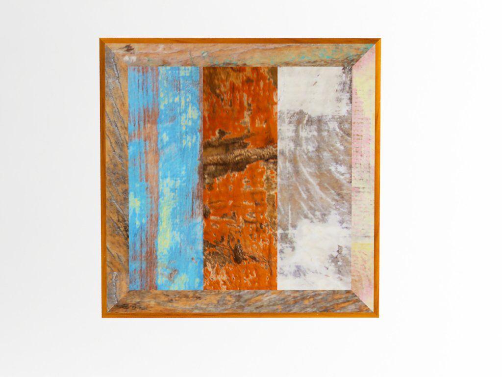 Tampo Quadrado 1,00x1,00x2cm Em Madeira De Demolição Mista