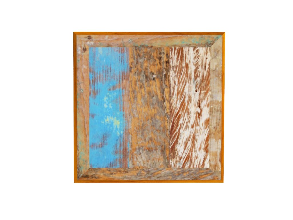 Tampo Quadrado Em Madeira De Demolição Com 90x90x2cm