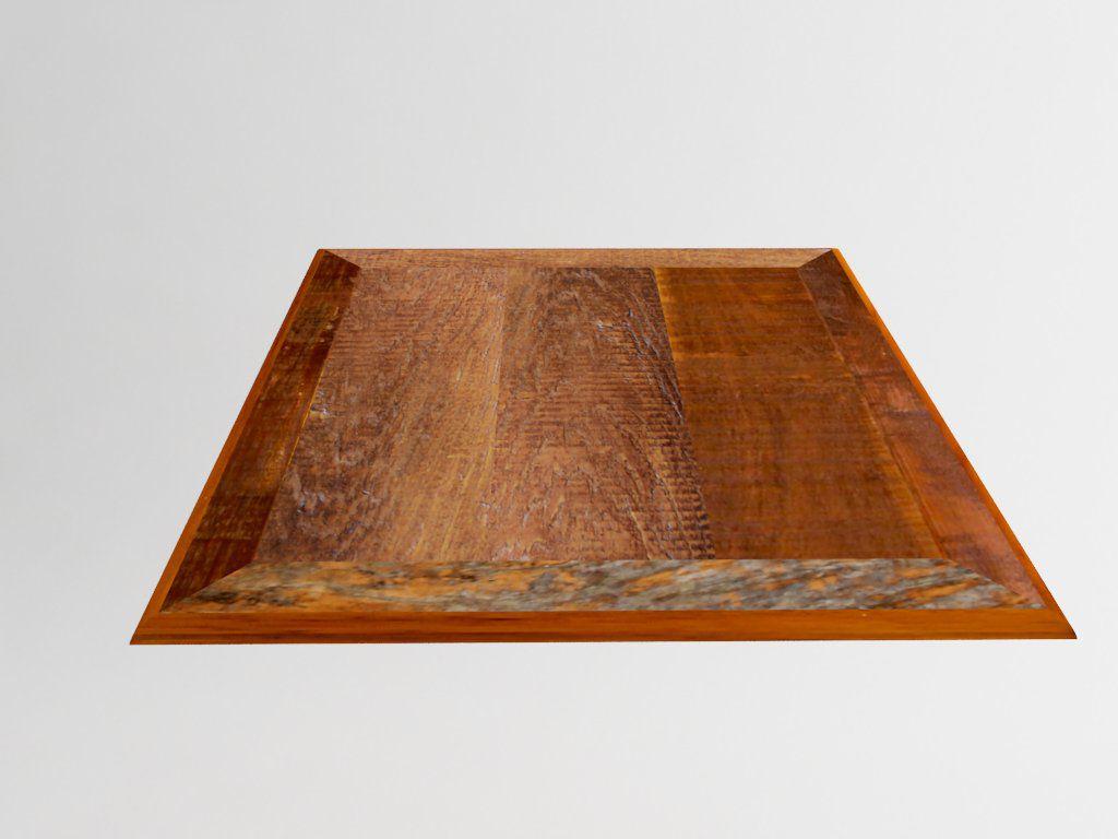 Tampo Quadrado Em Madeira De Demolição Mista 90x90x2cm