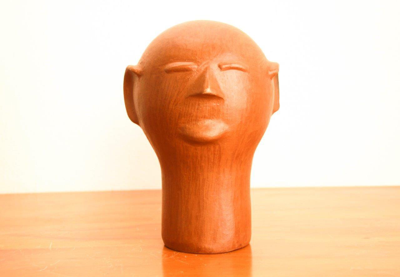 Trio de Cabeças de cerâmica Artesanal Decorativo frete gratis