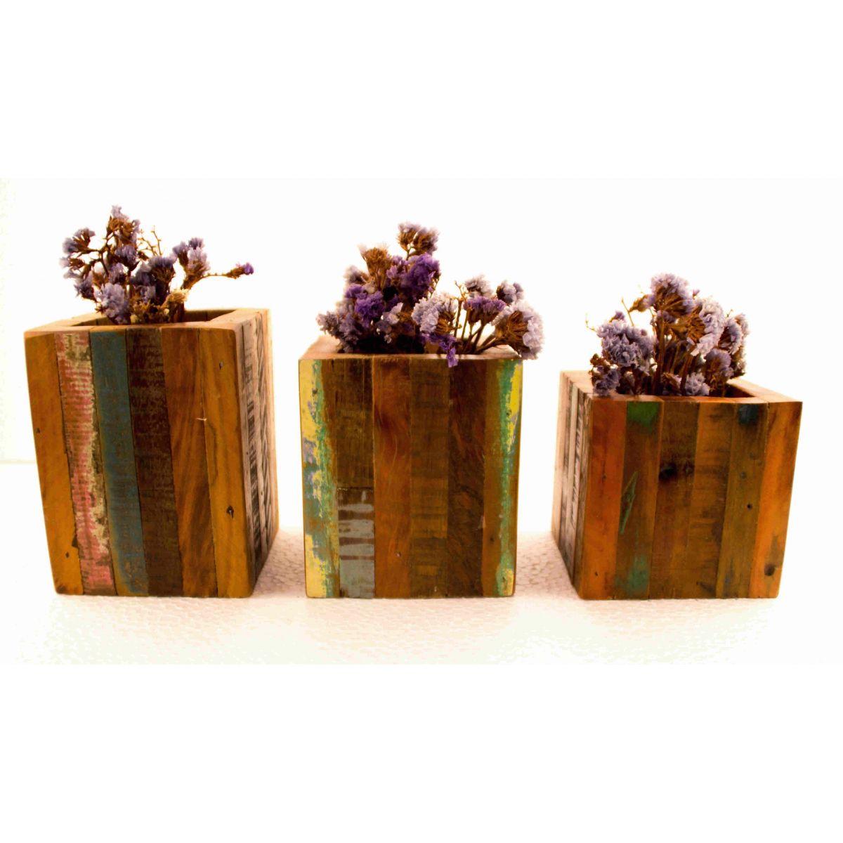 Trio De Cachepot decorativo Em Madeira De Demolição